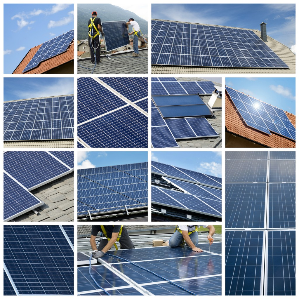 Solar panels installing - collage