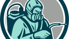 Pest Control Exterminator Spraying Retro